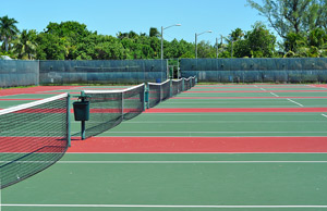 Because of the sand on tennis courts, ServiceMaster by Thacker uses this machine that has special brushes that does not remove the sand from the courts.