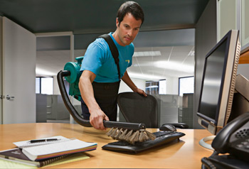 guy cleaning office