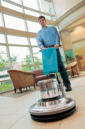 Schaumburg janitorial company professional polishes tile floor
